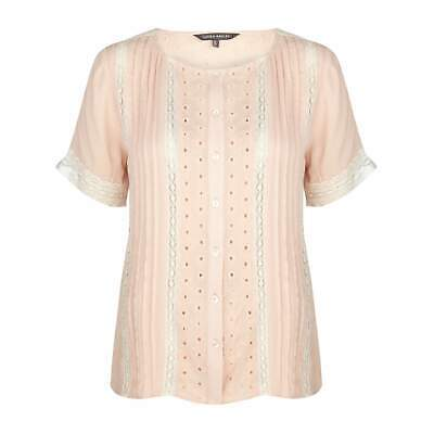Laura Ashley Womens Pink Lace and Broderie Button Up Blouse