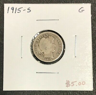 1915-S U.s. Silver Barber Dime ~ Good Condition! $2.95 Max Shipping! C2034
