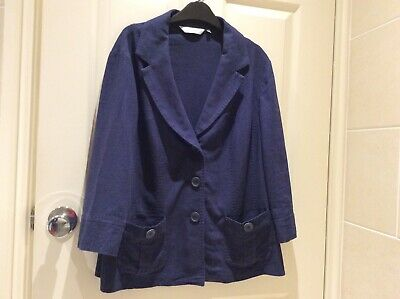 EWM Ladies Linen Blend Unlined Blue Jacket  - Size 18