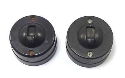 Pair Of Vintage Round Bakelite Electric/Light Switch Old Collectible. i59-100 US