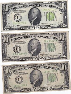 1934A $10 Bill American Currency Ten Dollar Federal Reserve Note USA