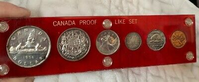 1954 Canada RCM Proof Like Set  SF Penny - Silver $1, 50C. 25C, 10C, 5C, 1C RARE