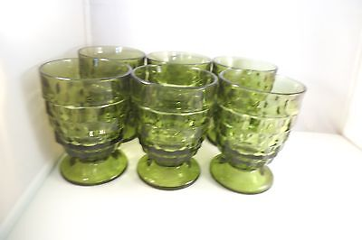 Indiana Colony Glass Whitehall Avocado Green Set of 6 Footed Tumblers Glasses