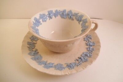Vintage Wedgwood Embossed Queen's Ware Cup & Saucer Blue on Cream