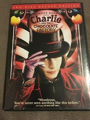 Charlie and the Chocolate Factory (DVD, 2005, 2-Disc Set, Widescreen Deluxe-EUC!