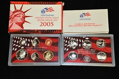NICE US MINT 2005 SILVER PROOF SET in ORIGINAL GOV'T BOX with COA (11) COIN SET