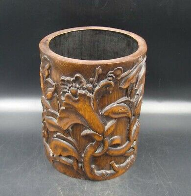 Collectible Handmade Carving Bamboo Brush Pot Statue Flower
