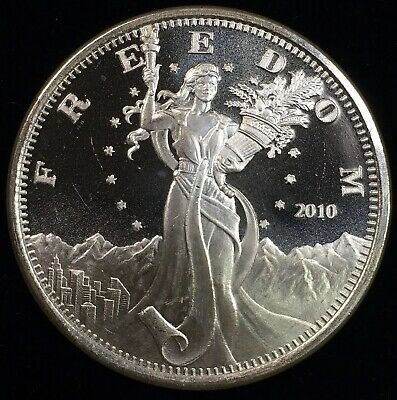 2010 FREEDOM / LIBERTY MOUNTAINS EAGLE - 1 oz PROOF SILVER ROUND - ART ROUND
