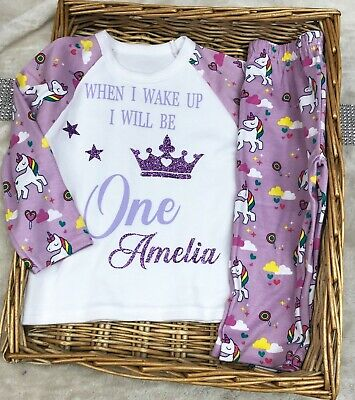 Unicorn pyjamas birthday age is up to 7 years old Girl Purple Lilac Sparkles