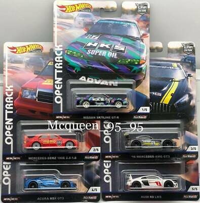 Hot Wheels 2019 Car Culture Open Track Set Of 5 Nissan Mercedes Acura Audi