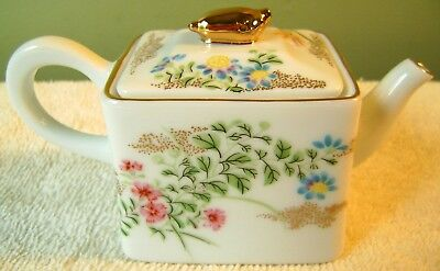 "2.25"" Victoria & Albert Teapot Collection Kyoto Floral Square Franklin Mint 1985"