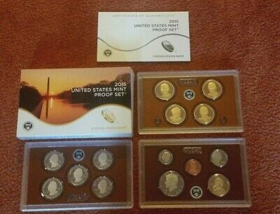 2015 United States U.S. Mint PROOF SET with Box and COA -- 14 Total Coins