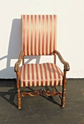 Antique Red & White Striped Silk Accent Arm Chair Floral Design Carved Wood