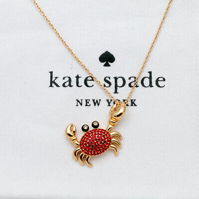 Kate Spade NY shore thing pave crab PENDANT NECKLACE new with dust bag