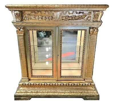 Big Old French Louis XIV Baroque Gilded Wood Glass Curio Display Vitrine Cabinet