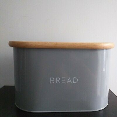 White Embossed Bread Bin Bamboo Effect Lid Bread Loaf Storage Crock Bin Tin Home, Furniture & Diy Food & Kitchen Storage