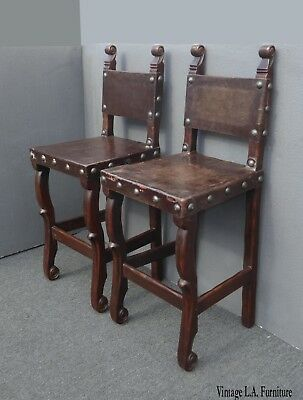Pair of Vintage Spanish Style Rustic Brown Leather Bar Stools w Large Clavos