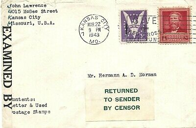 Scarce 1943, Cover To Sierra Leone, Civil Censor Form OC-64 Returned To Sender,