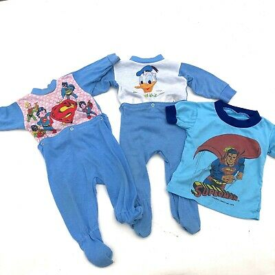 VINTAGE Baby lot of 3 pajamas, Donald Duck, Superman vintage pjs, as-is.