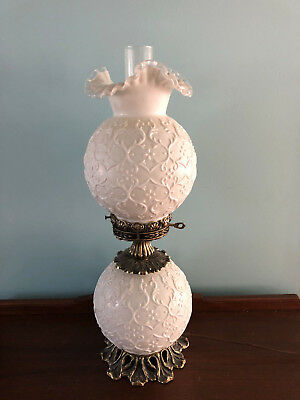 Gorgeous FENTON ART GLASS LAMP Spanish Lace SILVERCREST Milk Gone with Wind