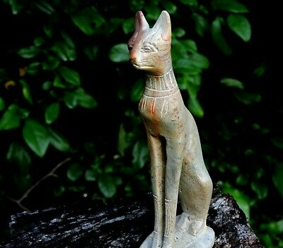 Antique Hand Carved Solid Stone Sculpture Egyptian Goddess Bast Statue Bastet