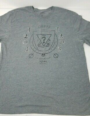 edbc879313d5 Guess Distressed Men's XL Graphic Triangle Logo Stitched Textured T-Shirt