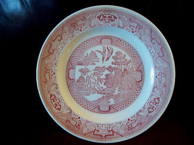 """Royal China Willow Ware Pink USA Luncheon Plate 9.25"""""""