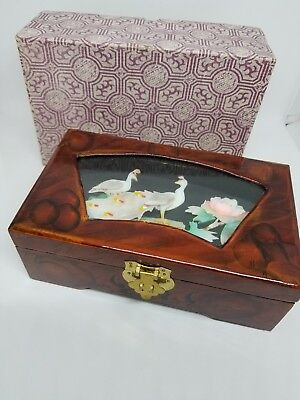 VTG Jewelry Box Carved Shell Peacock Shadow Music Box plays Love Story NIB