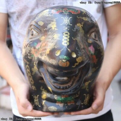 Royal Palace Old Wood Wooden Hand Carved Painted Animal Zodiac Snake Head Statue