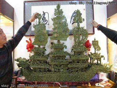 "51""Chinese Regius Palace Green Stone Jade exquisite Carved sailboat Dragon Boat"