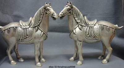 8 Palace White Copper Silver Feng Shui Lucky Wealth Tang Horse War Horses Pair