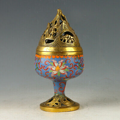 Chinese Exquisite Brass Cloisonne Hollow Incense Burner Carved Pattern GL523