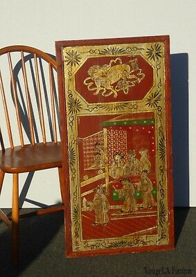 Vintage Asian Oriental Red & Gold Hand Painted Wall Panel Picture