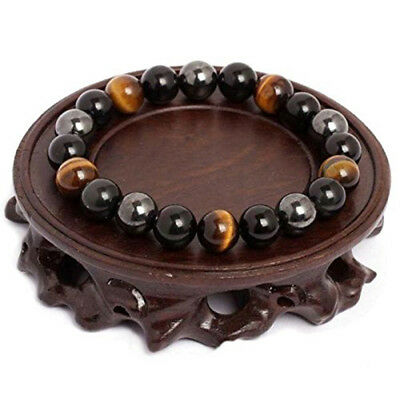 Obsidian And Tiger Eye Stone Chakra Bracelet Natural Healing Bead Chain WL
