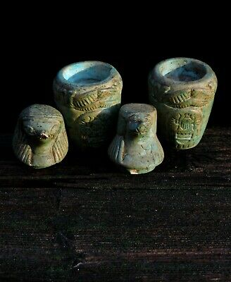 Vintage Canopic Jar Faience Set Qebehsenuef Falcon God & Hapi Baboon God Statues