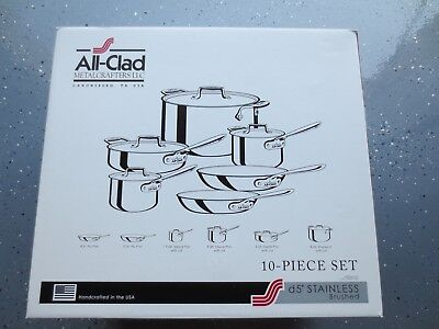 All-Clad D5 10 PC Set BD005710-R Brushed Stainless Steel 5-Ply Bonded