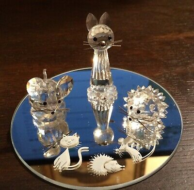 "Swarovski Crystal  ""Starter Set"" CAT, MOUSE, HEDGEHOG + Mirror 7606NR100000 MIB"