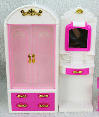 Doll Furniture Closet Wardrobe Outfit Dressing Table Mirror Set For