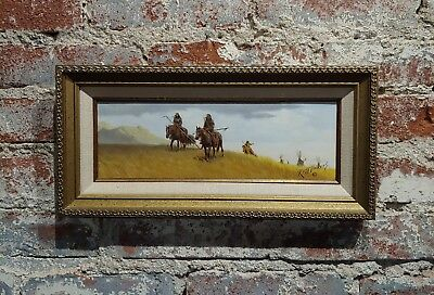 Russ Vickers -Indians leaving Camp on Horses-Oil painting