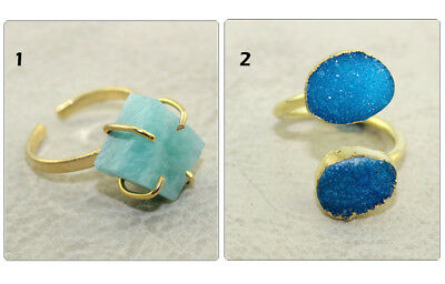 Natural Agate Druzy Amazonite 24k Gold Pated Prong Set Adjustable Ring Jewelry