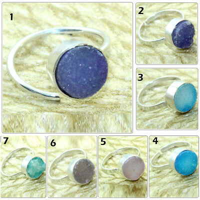 Lovable Natural Agate Sugar Druzy Silver Plated Adjustable Ring Unisex Jewelry