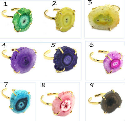 Natural Solar Quartz Gold Plated Prong Adjustable Ring Jewelry @FREE SHIPPING