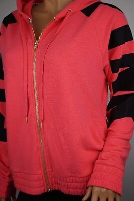 Victoria's Secret Pink Oversized Perfect Full-Zip Hoodie Coral Pink S L