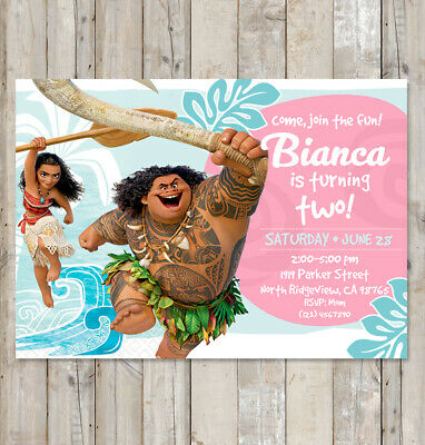 Disney Moana Invitation Birthday Party 25pcs Invite Prints Or YouPrint