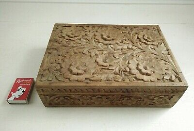 Vintage Wooden Carved Box Floral Carving Jewellery  Book Cards Box