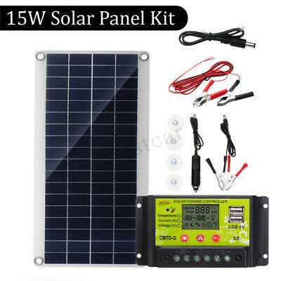 15W Dual USB Solar Panel +10A Solar Battery Charger+Alligator Clip Wire+DC Line