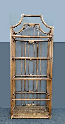 Vintage Mid Century Modern Bamboo Rattan Bookcase ~ Etagere Chinese Chippendale