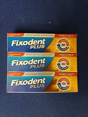 3 x Fixodent Plus Dual Power Premium Denture Adhesive Cream Long Last Strong 40g