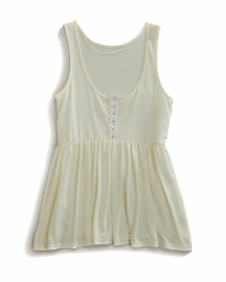 67a9a1c26c32b Tin Haul Womens White Poly Rayon Sleeveless Drapey Cream Jersey Tank Top S