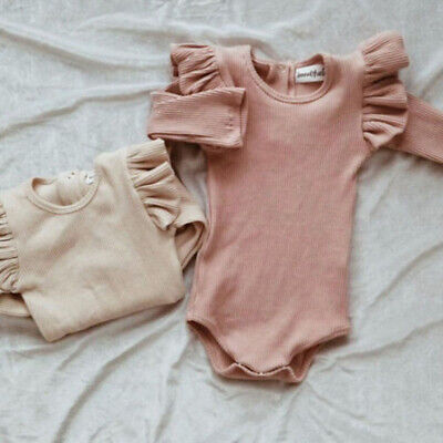 Kids Newborn Baby Girl Boy Romper Long Sleeve One Pieces Jumpsuit Outfit 0-24M